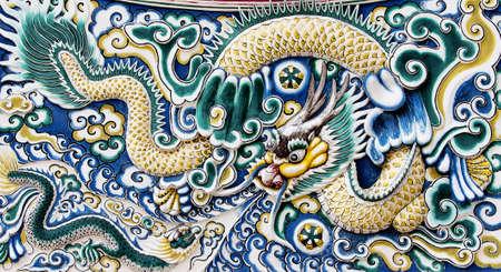 naga china: chinese dragon on the wall