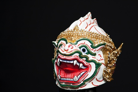 Native Thai style mask, use in royal performance, Khon