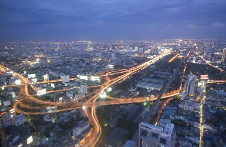 super highway: Bangkok and express way view point from Baiyok building  Stock Photo