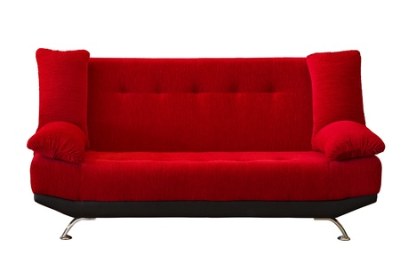 red pillows: red fabric modern sofa on white background