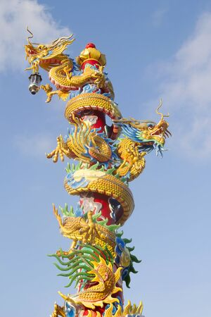 colourful chinese dragon statue in thailand photo