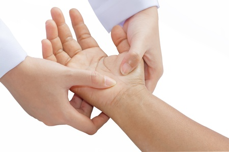 digital pressure hands ,deep fixtion massage therapy physiotherapy  Stock Photo