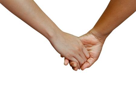 Close-up Agarrados de la mano con el aislamiento de fondo