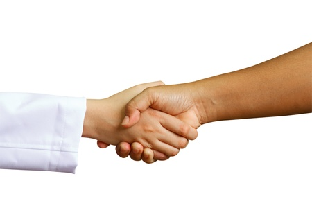 shakes hands: doctor shakes hands with a woman patient with isolate background