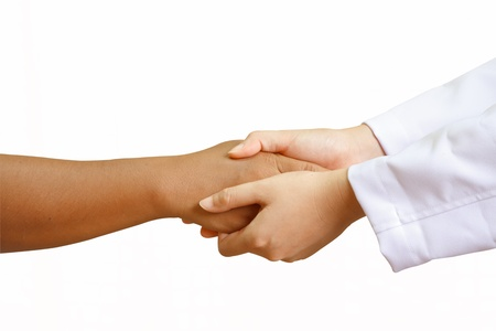 doctor Holding Hands with  a woman patient with isolated white background