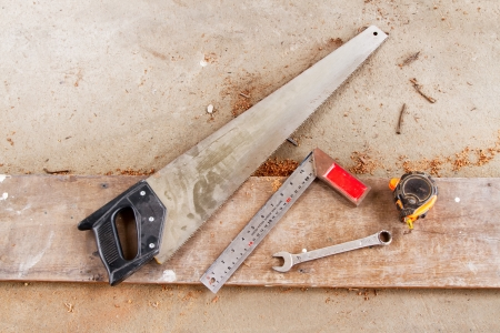 carpenter's tools on a workbench Stock Photo - 13854835