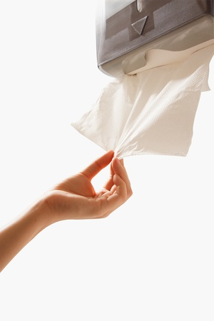 sanitizing: Cleaning Up  with Absorbent Paper Towel  Stock Photo