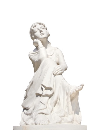 statue of young female isolated over white photo