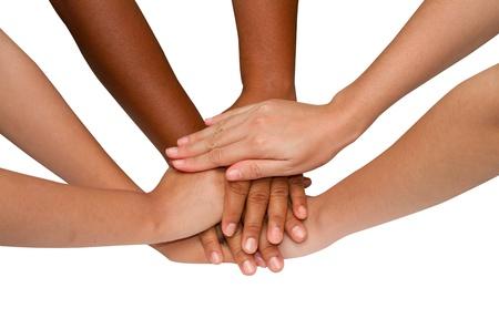 El trabajo en equipo y esp�ritu de equipo, apret�n de manos en un grupo despu�s del trabajo con �xito