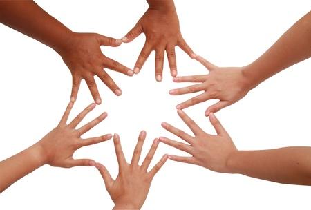 coordinacion: Coordinaci�n de la mano, las manos multirraciales abrazados en la unidad