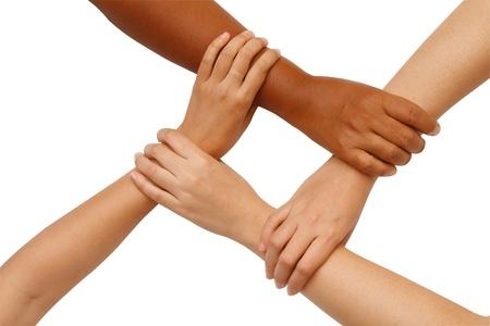 coordinacion: Coordinaci�n manual, manos multirraciales que sostienen entre s� en la unidad