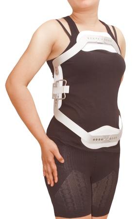Apoyos lumbares jewet, la hiperextensi�n de cors� para la espalda Truma o fracturar la columna tor�cica y lumbar, en el fondo aislado Foto de archivo