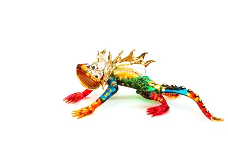 blown: colorful chameleon  blown glass on white background,reptile symbol colorful design on blown glass