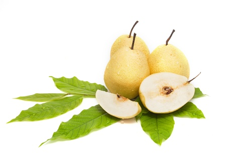 Chinese pear on white background Banco de Imagens