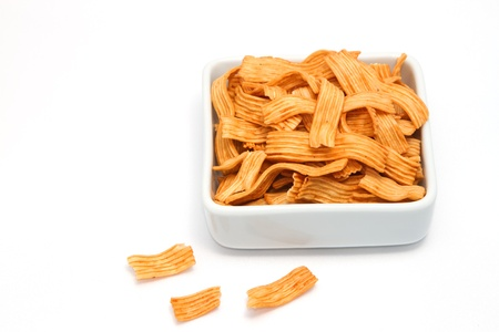titbits: salty snacks,junk food on white background