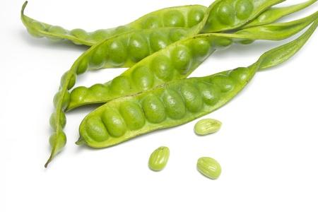 stinking:  stinking- beans on white background Stock Photo