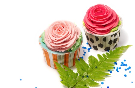 Wedding cupcakes,birth day cup cake on white back ground photo