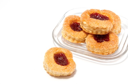 fillo: strawberry pastry on white background