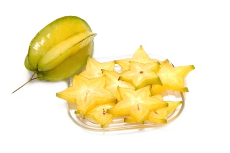 star fruit slice, on white background  photo