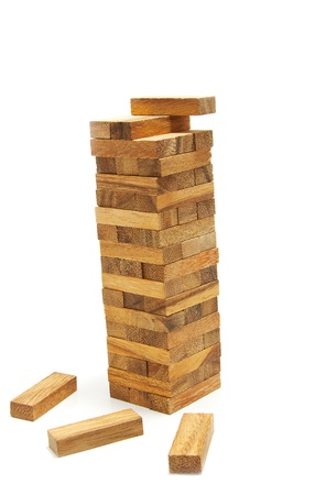 tower block: tower wood blocks ,stand on white background