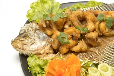 fired fish with fishsauce, Giant Gouramy fish with fishsauce ,on white background photo