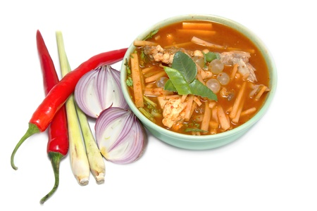 sour grass: sour fish soup made of tamarind paste on white background