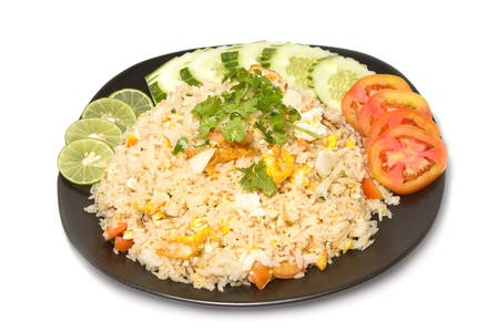favorite:  Thai fried rice with crab meat ,thai food favorite on white background