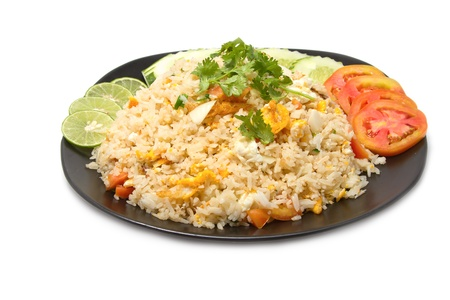 Thai fried rice with crab meat ,thai food favorite on white background  photo