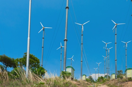 Many wind turbine generating electricity on blue sky Stock Photo - 15400800