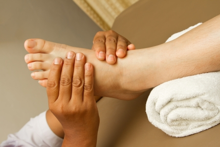 feet relaxing: reflexology foot massage, foot spa treatment