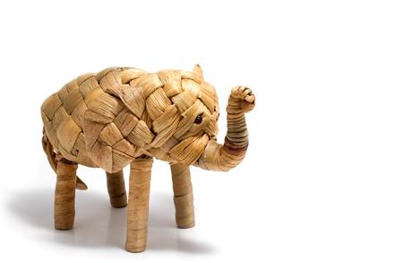 interlace: Elephant,reed handcraft wicker on white background