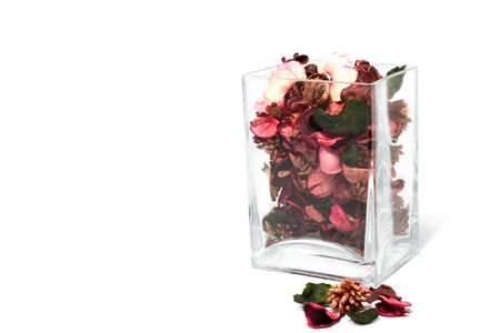 flower sachet in Glass jar on white background photo