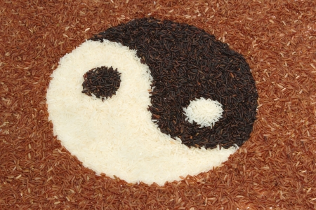 close up pile of brown rice and jasmine rice  in yin-yang symbol photo