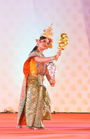 nosering: BANGKOK, THAILAND - JANUARY 15:  actors performs Thai ancient dancing Art ,Khon Thai Classical masked ballet, January 15, 2012 at Wat bowonivet annual festival ,bangkok thailand Editorial