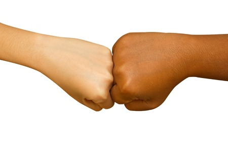 coherence: Female and male people giving a fist bump,Fist bump hand sign coherence top view  isolated in white background