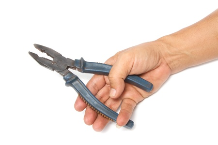 Hand with pliers Stock Photo - 16565596
