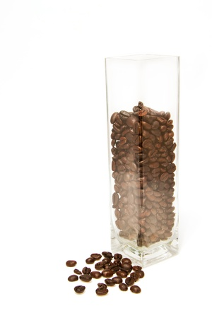 coffee bean in glass box on white background Stock Photo - 16565609