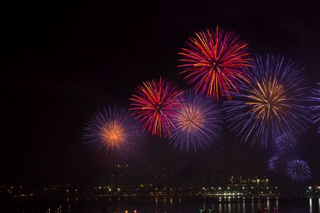 Night view and beauty of the fireworks  at Pattaya beach, Thailand photo