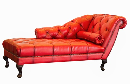 ventage red sofa on white background photo