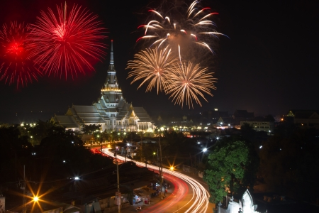 Night view of Sothorn temple and firework  at  Chachoengsao province, Thailand  photo