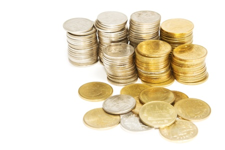 pile of Columns of  coins on white background Stock Photo - 17058546
