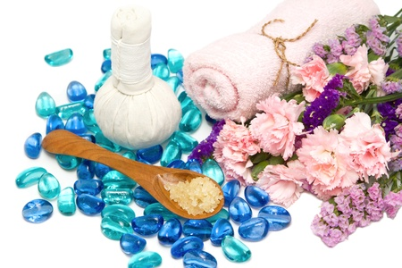 herbal massage ball: Beautiful aroma spa accessories with herbal massage ball  on white background