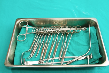 set of surgical instrument on sterile tray Stock Photo - 17200909