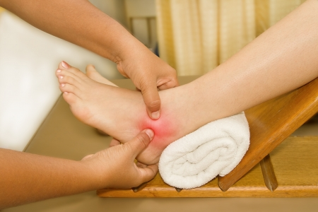 the painful or injury ankle and foot,doctor examining an injury foot