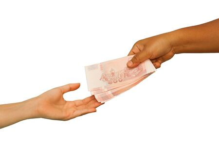 Hand giving money to other hand ,concept business  photo