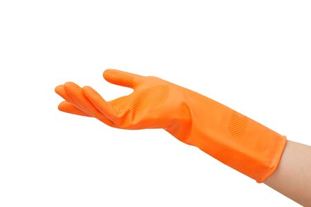 hand with a rubber glove orange holding something on white background Stock Photo - 17414162