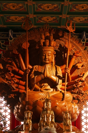 Guan Yin sculpture Thousand Hand carved of wood.
