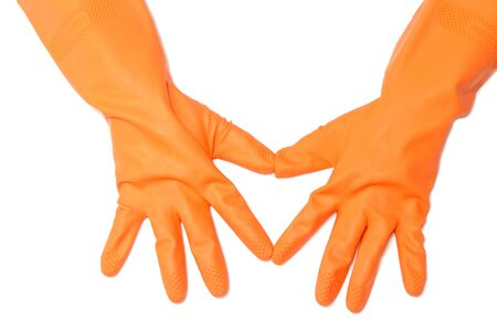 Two hand with orange glove  on white background Stock Photo - 17473429