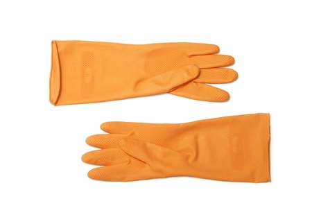 Orange rubber glove on white background Stock Photo - 17473435