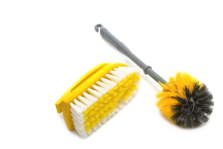 Clean tool,Plastic toilet brush isolated on white background photo
